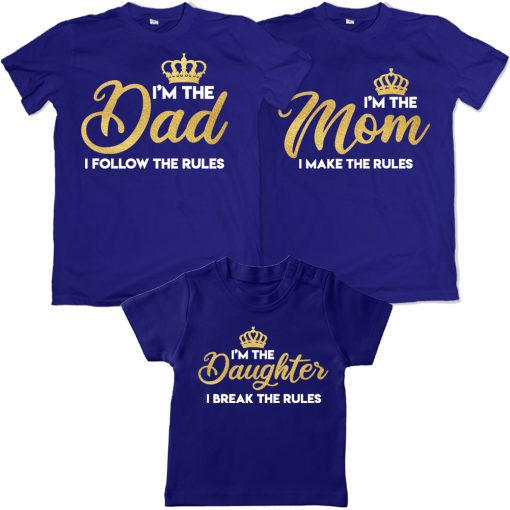 Dad-Mom-&-Daughter-Crown-Rulers-In-The-Family-Combo-T-Shirts-Blue
