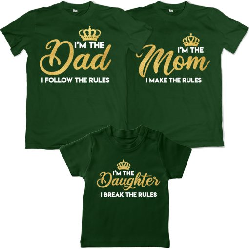 Dad-Mom-&-Daughter-Crown-Rulers-In-The-Family-Combo-T-Shirts-Green