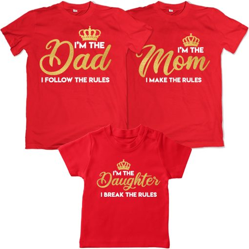Dad-Mom-&-Daughter-Crown-Rulers-In-The-Family-Combo-T-Shirts-Red