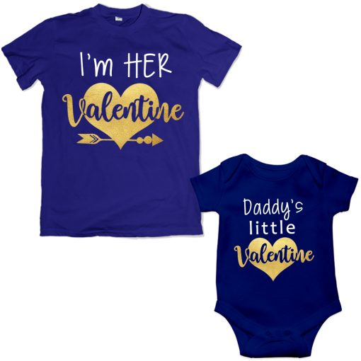 Daddy-&-Daddy's-Little-Princess-Valentine-Special-Combo-T-Shirt-Blue