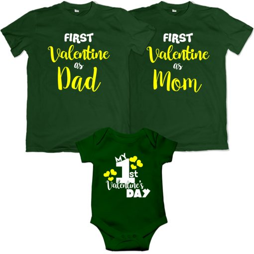 First-Valentine-Day-As-Family-Combo-T-Shirt-Green
