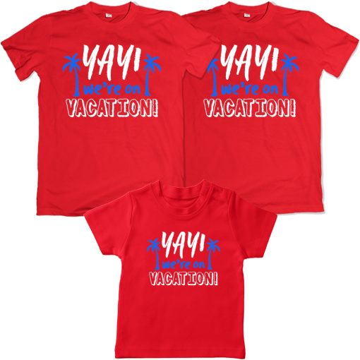 Yay-We're-Going-On-Vacation-Family-Combo-T-Shirt-Red