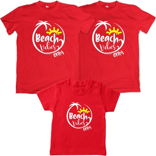 Beach-Vibes-Only-Family-Combo-Special-T-Shirt-Red