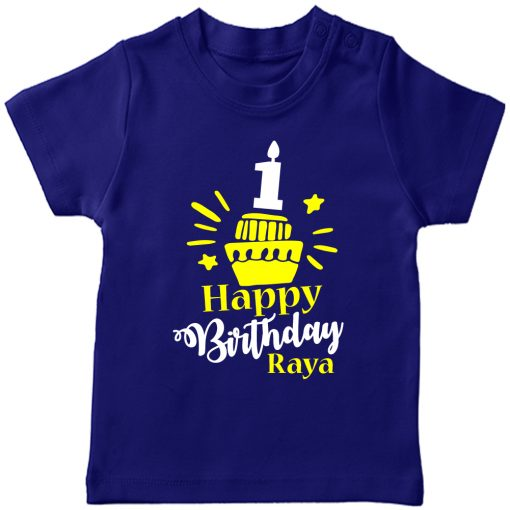 Birthday-Customized-name-With-Cupcake-T-Shirt-Blue