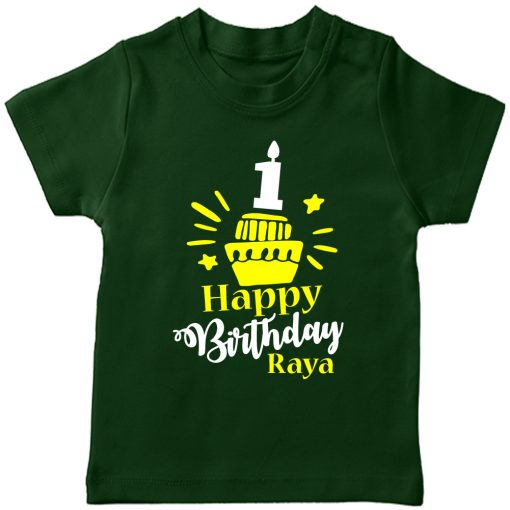 Birthday-Customized-name-With-Cupcake-T-Shirt-Green