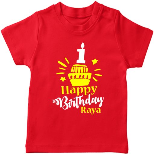 Birthday-Customized-name-With-Cupcake-T-Shirt-Red