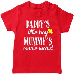 Daddy's-Little-Kid-Mummy's-Whole-World-T-Shirt-Red