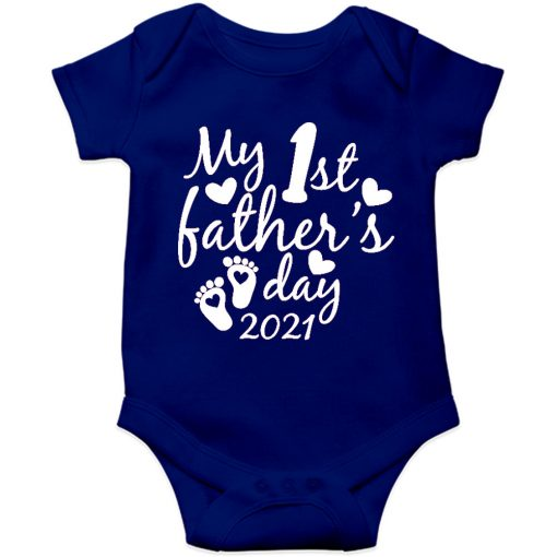 Fathers day baby romper blue