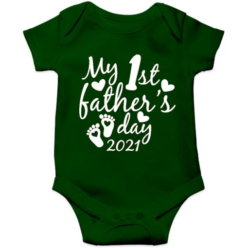 Fathers day baby romper green