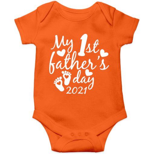 Fathers day baby romper orange