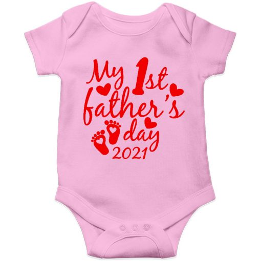 Fathers day baby romper pink