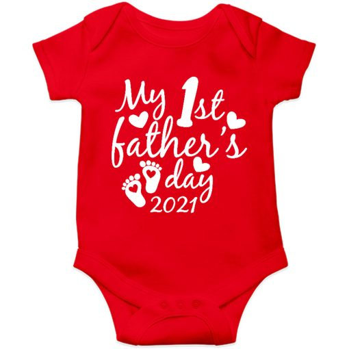 Fathers day baby romper red