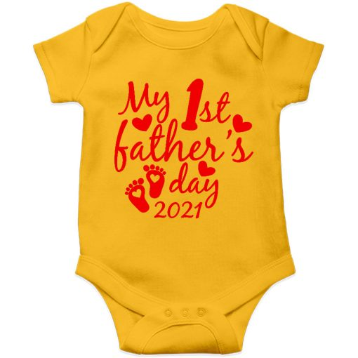 Fathers day baby romper yellow