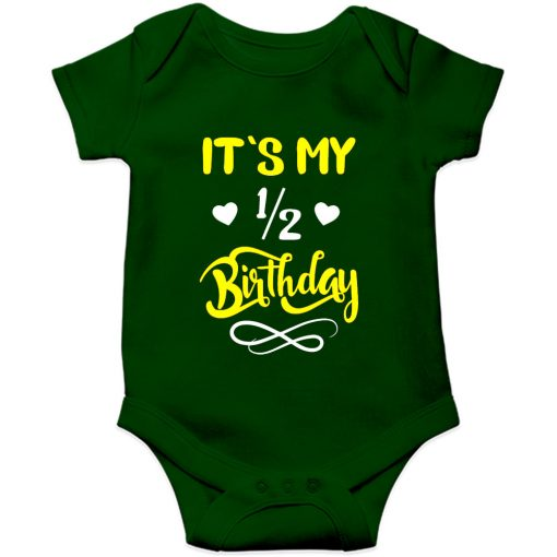 Half birthday romper green