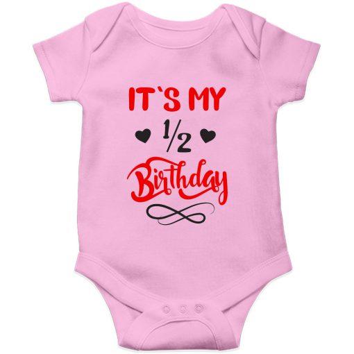 Half birthday romper pink