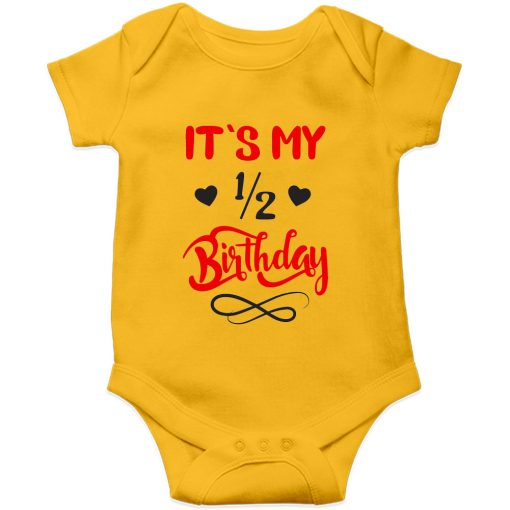 Half birthday romper yellow