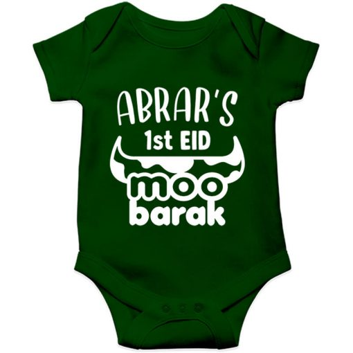 Unique-Horn-Eid-Baby-Romper-green