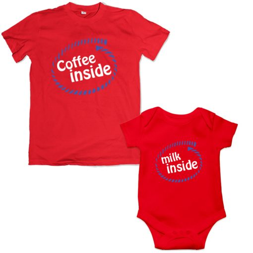 coffee inside father son mathing red tshirt bangladesh