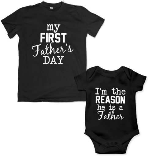 first Father's day dad son matching tshirt black