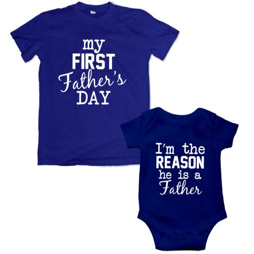 first Father's day dad son matching tshirt blue