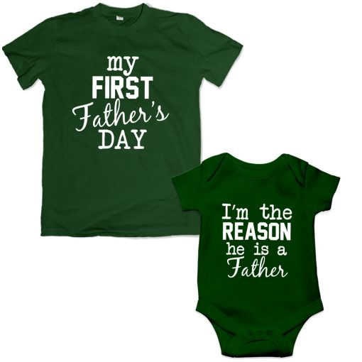 first Father's day dad son matching tshirt green