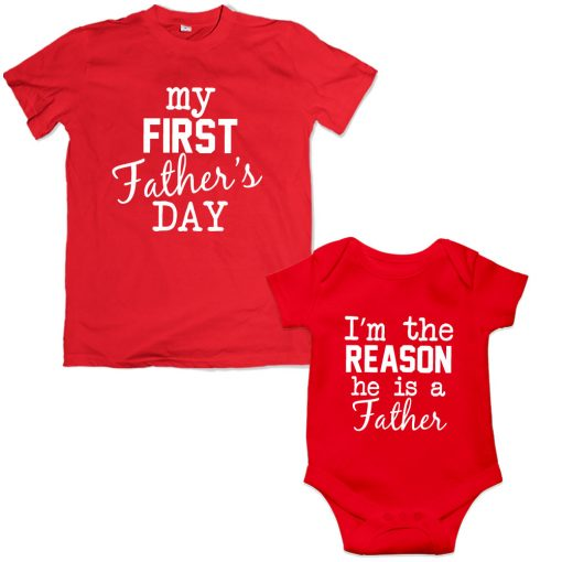 first Father's day dad son matching tshirt red
