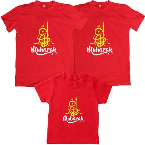 Eid Mubarak calligraphy family matching red tshirt